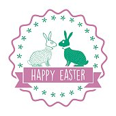 istock vintage happy easter bunny icon with text ribbon 512111598