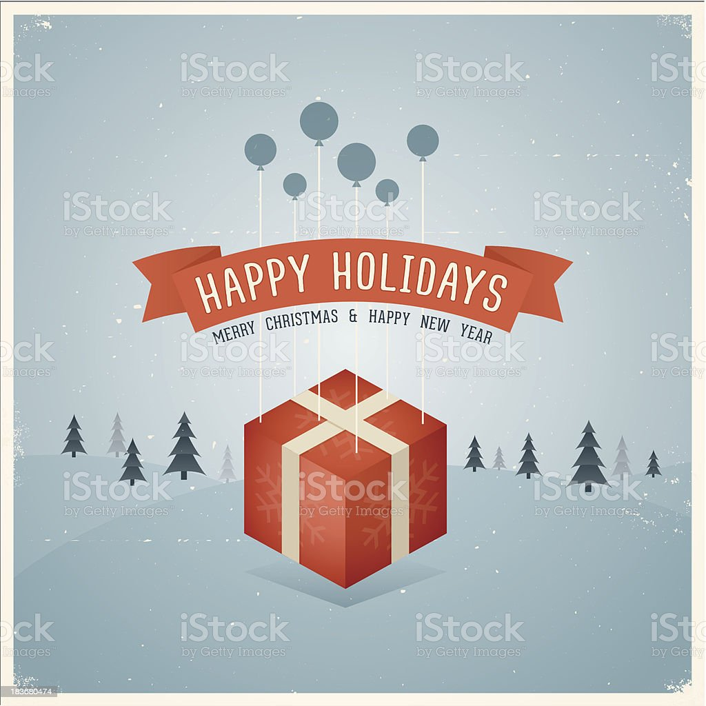 Vintage Happy Holidays Card royalty-free vintage happy holidays card stock vector art & more images of christmas