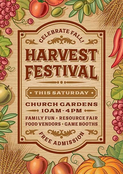 bildbanksillustrationer, clip art samt tecknat material och ikoner med vintage harvest festival poster - traditionell festival