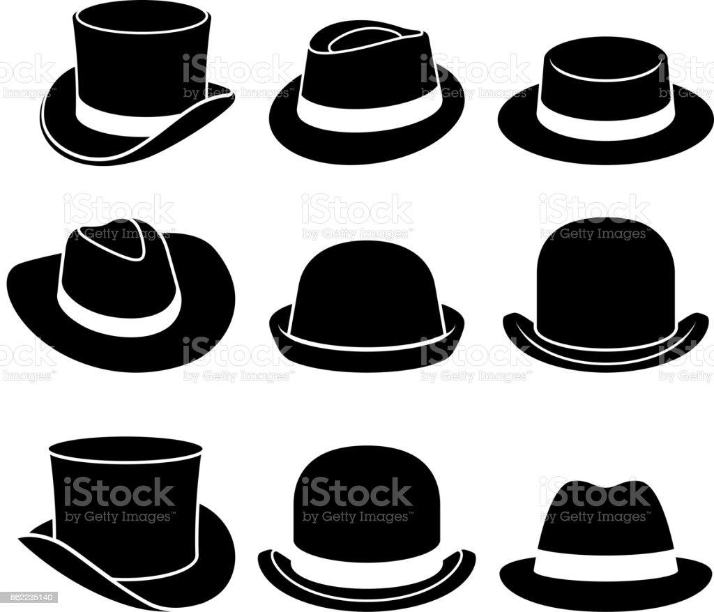 Iconos de sombreros vintage. Ilustración de vector. ilustración de iconos de sombreros vintage ilustración de vector y más vectores libres de derechos de accesorio personal libre de derechos