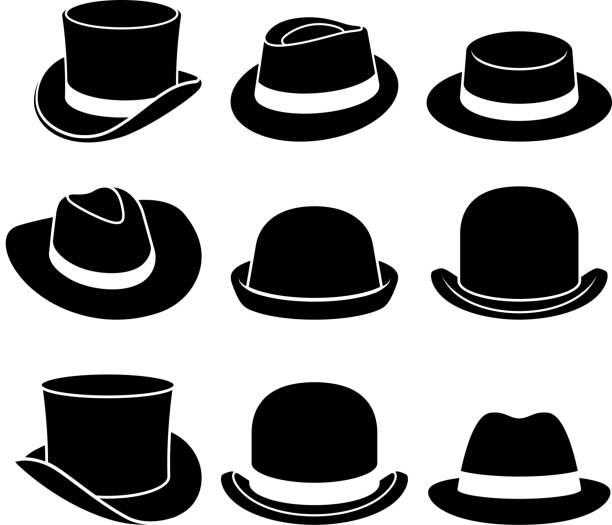 bildbanksillustrationer, clip art samt tecknat material och ikoner med vintage hattar ikoner. vektorillustration. - hatt