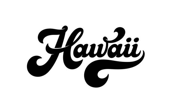 bildbanksillustrationer, clip art samt tecknat material och ikoner med vintage hawaii vektor bokstäver i retrostil isolerad på vit bakgrund. design för en logo typ, t-shirt, affisch, banner, hawaiian party dekoration. vintage etikett och vektor illustration. - delstat hawaii