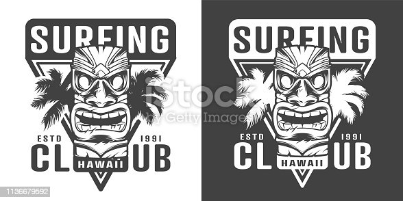 Vintage hawaiian surfing club logotype with traditional tribal tiki mask and palm leaves in monochrome style isolated vector illustration