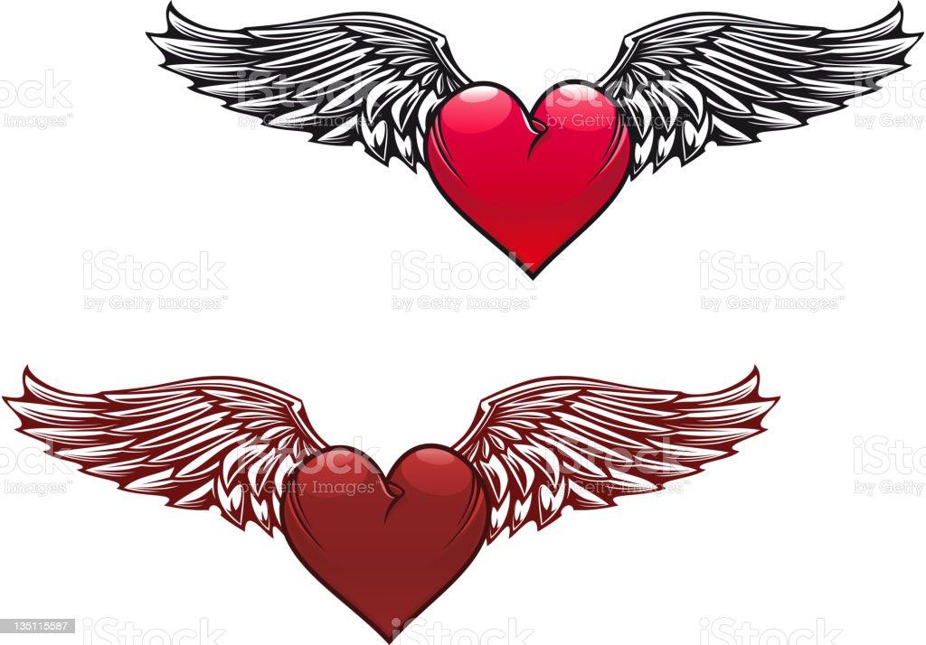 Vintage heart tattoo vector art illustration