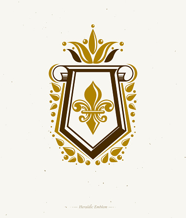 Vintage heraldic emblem created with lily flower royal symbol. Eco product symbol, organic and healthy food theme illustration, protection shield decorated with cartouche.