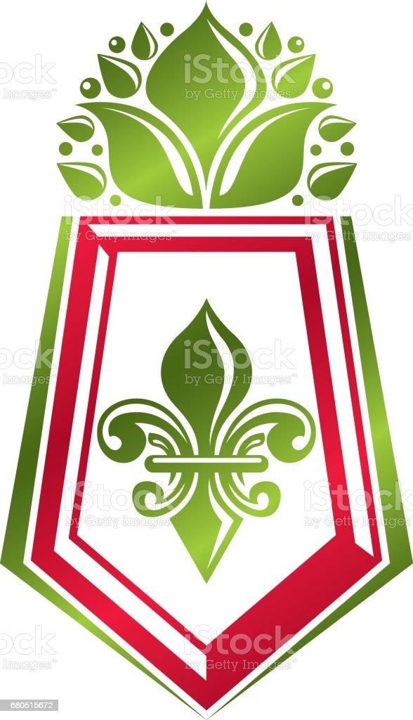 Vintage heraldic emblem created with lily flower royal symbol. Eco product symbol, organic and healthy food theme illustration, decorative protection shield. - ilustração de arte em vetor