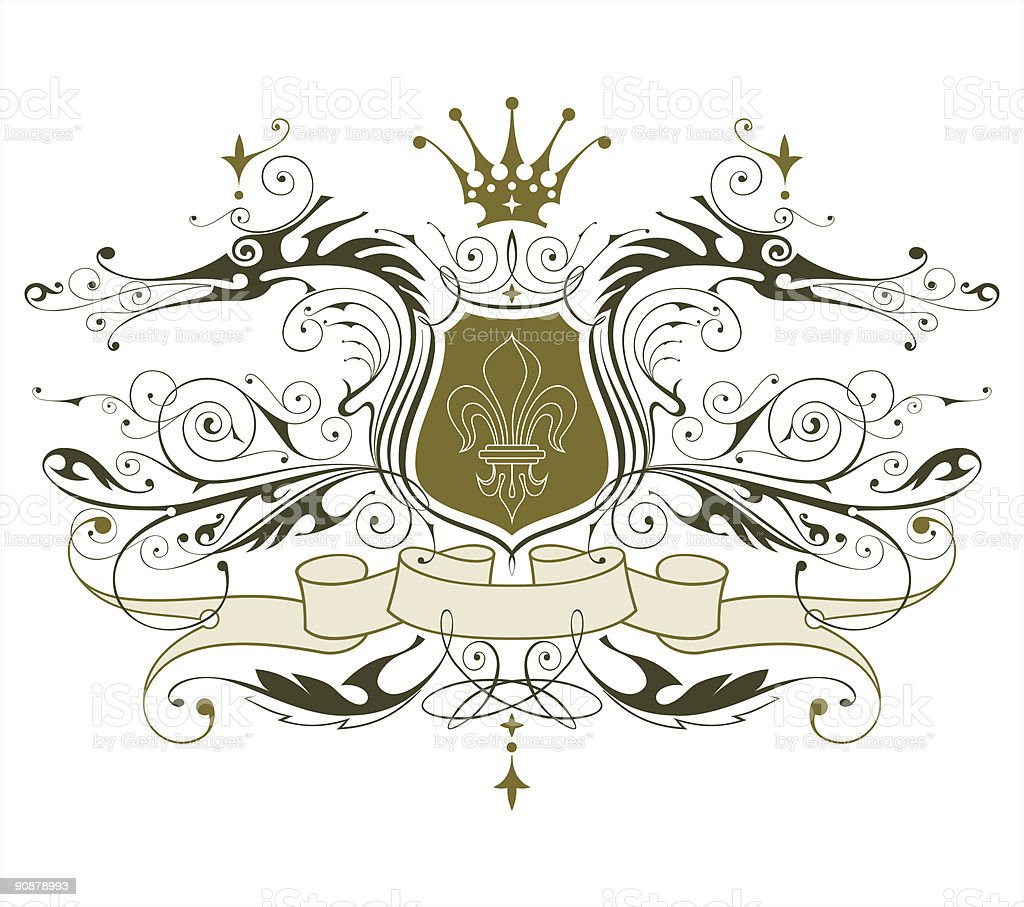 vintage heraldic emblem ( dragons, shield & lily, crown & ribbon ) royalty-free vintage heraldic emblem stock vector art & more images of abstract