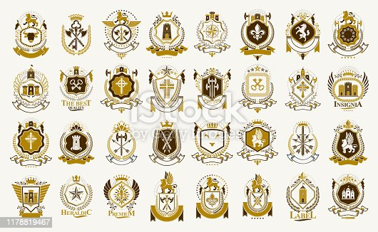 Vintage heraldic emblems vector big set, antique heraldry symbolic badges and awards collection, classic style design elements, family emblems.