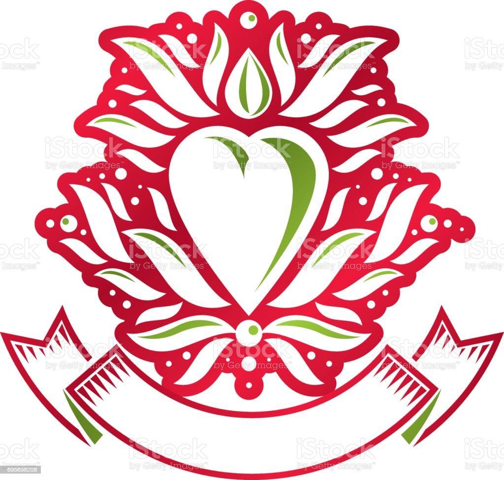Vintage heraldic vector emblem created with lily flower royal symbol vintage heraldic vector emblem created with lily flower royal symbol and red romantic heart shape izmirmasajfo