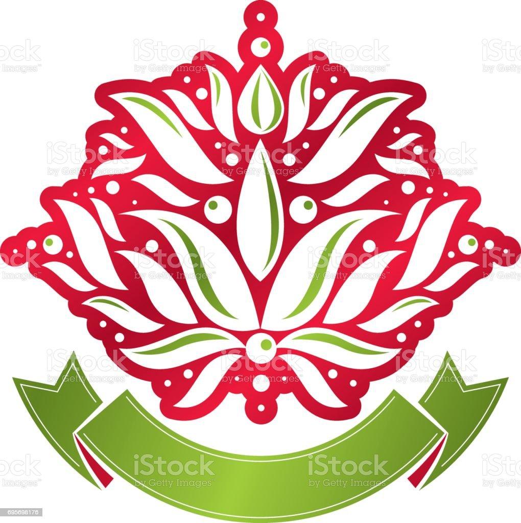 Vintage heraldic vector emblem made using lily flower royal symbol vintage heraldic vector emblem made using lily flower royal symbol with beautiful blossom eco friendly izmirmasajfo