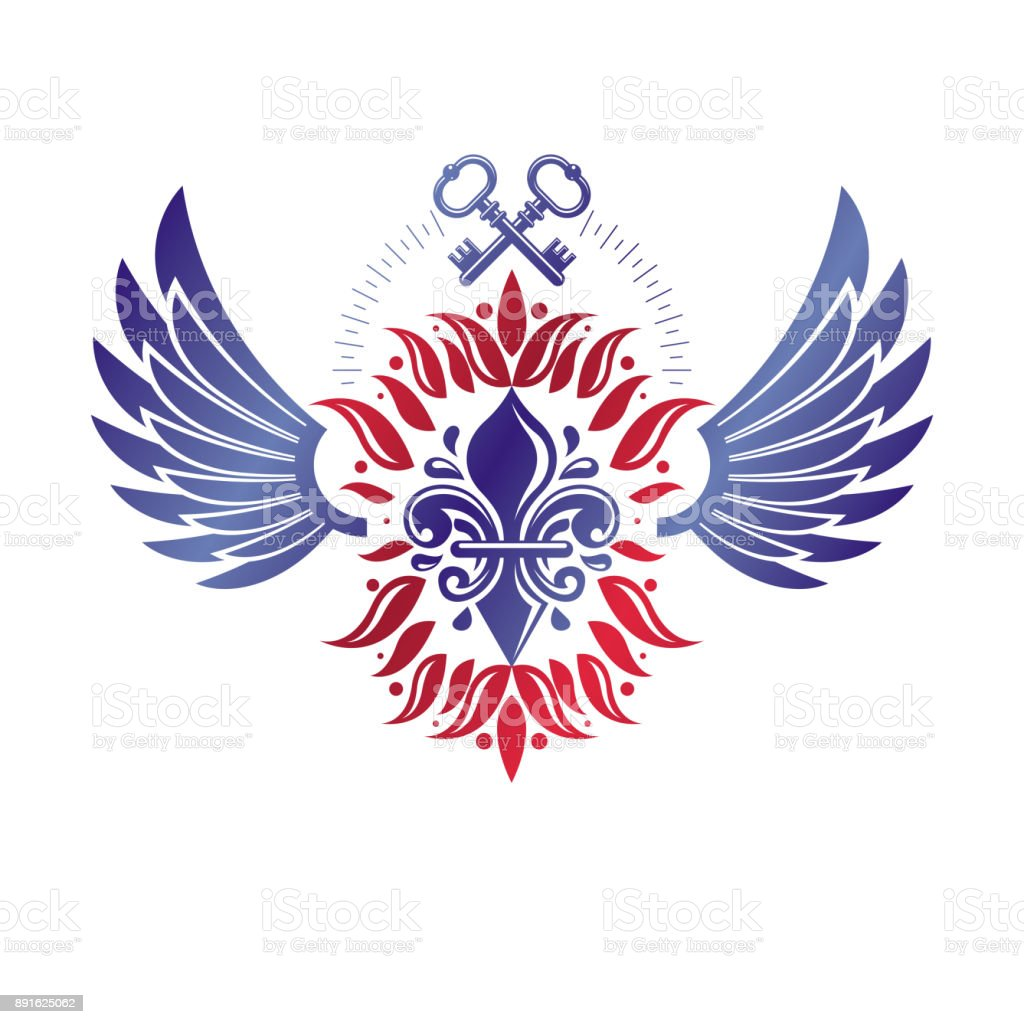 Vintage heraldic vector insignia composed with lily flower symbol vintage heraldic vector insignia composed with lily flower symbol and security keys royal guard theme izmirmasajfo