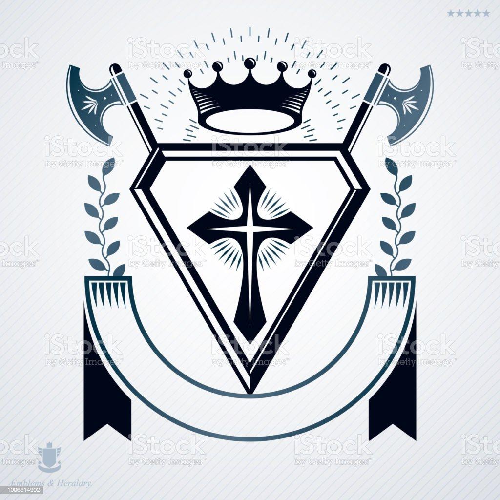 heráldica vintage modelo de projeto, emblema de vetor. - ilustração de arte em vetor