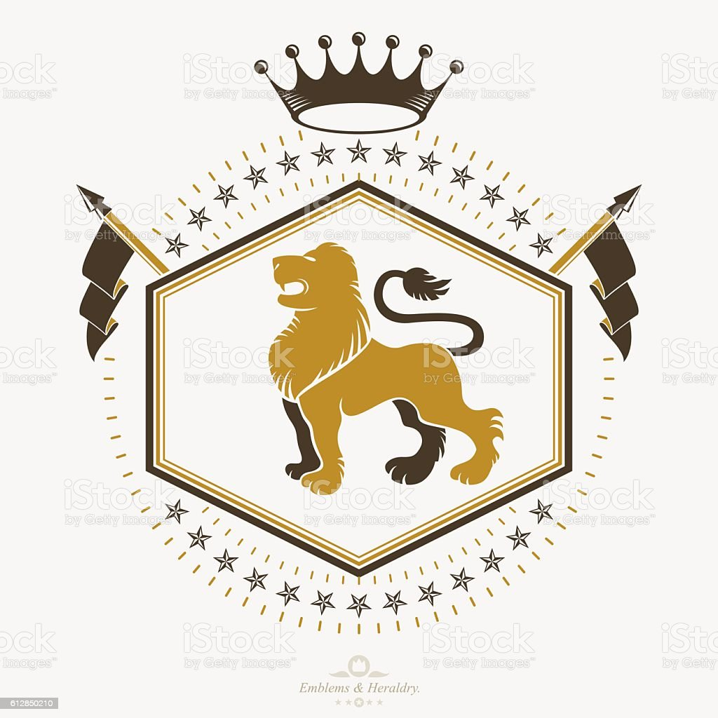 Vintage heraldry design template, vector emblem. - ilustração de arte em vetor