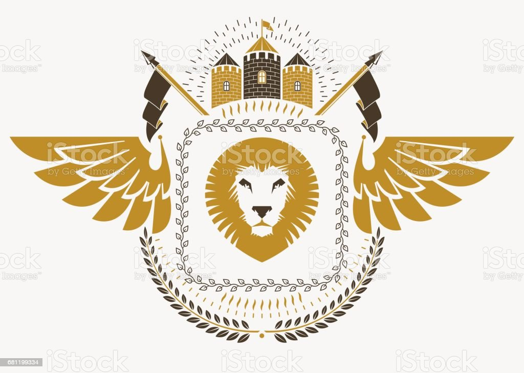 vintage heraldry design template with bird wings vector emblem