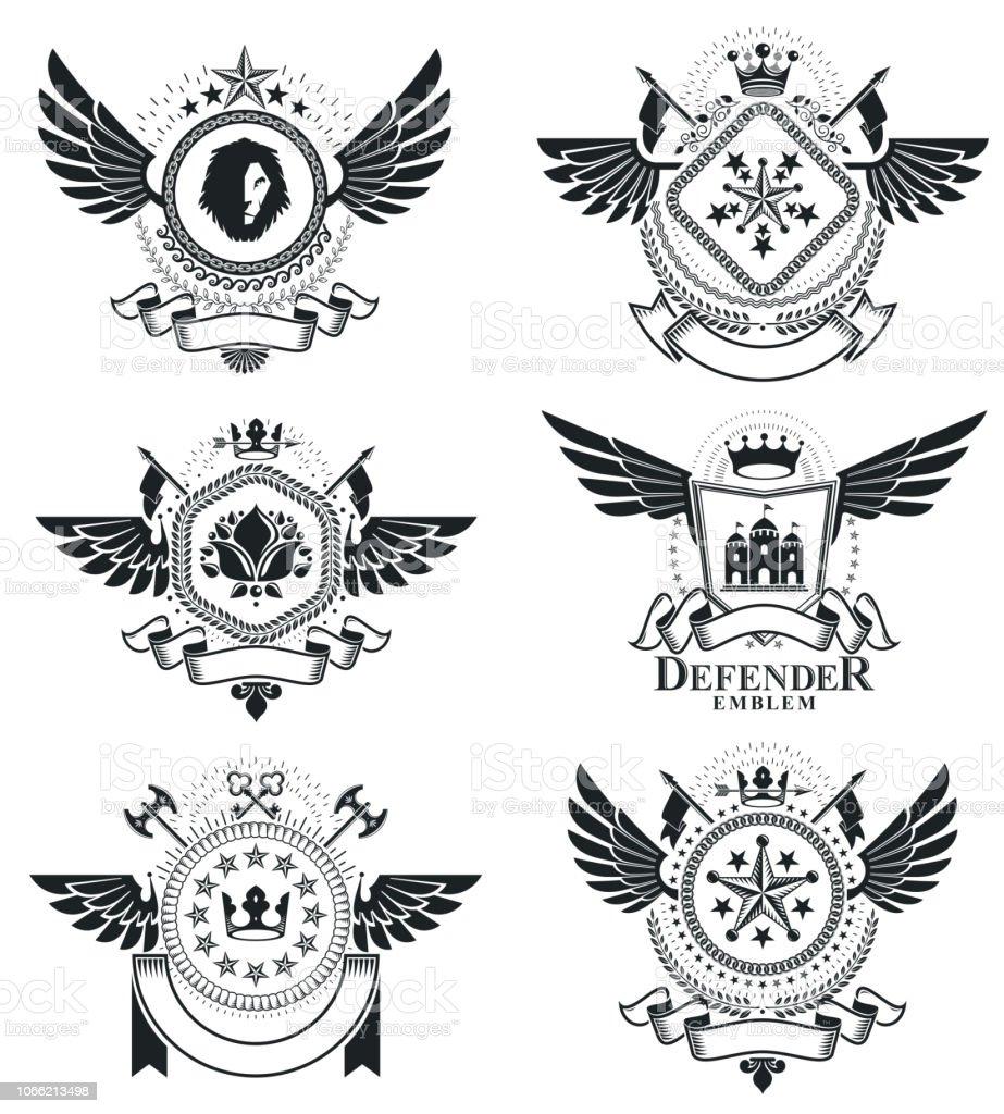 Modelos de design vintage heráldica, emblemas de vetor. Coleção de símbolos em estilo vintage. - ilustração de arte em vetor