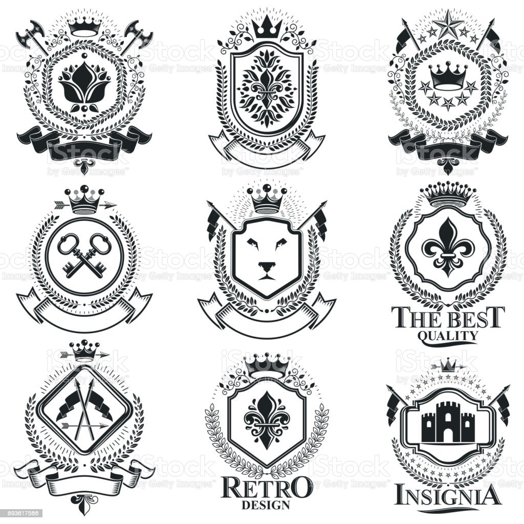 Vintage Heraldry Design Templates Vector Emblems Collection Of