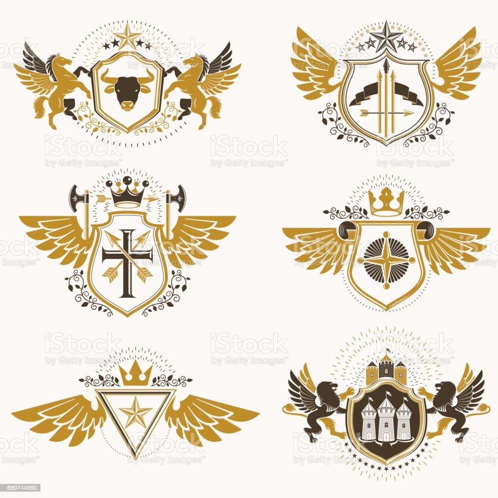 vintage heraldry design templates vector emblems created with bird