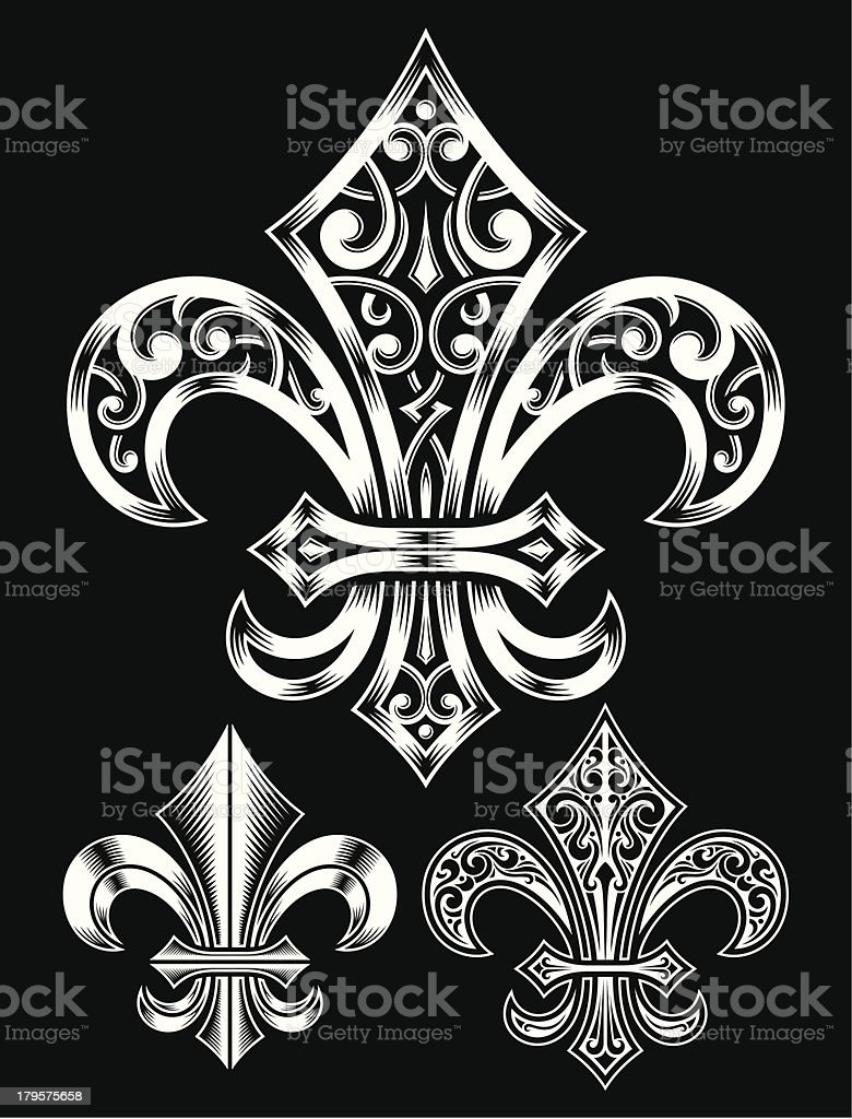 Vintage Heraldry Fleur De Lis Set vector art illustration