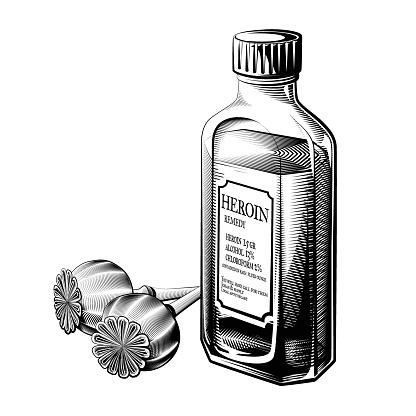Vintage heroin bottle