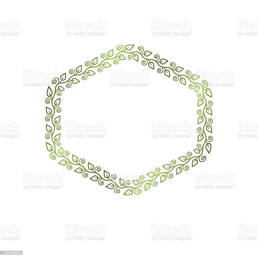 Vintage moldura hexagonal criada com ornamento natural do estilo de ecologia, folhas verde primavera. Ilustração em vetor brasão heráldico emblema decorativo isolada, eco-friendly. - ilustração de arte em vetor