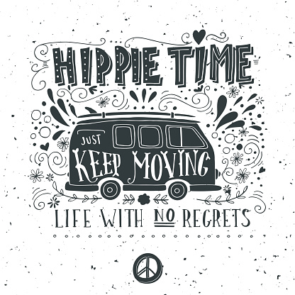 Vintage hippie time print with a mini van