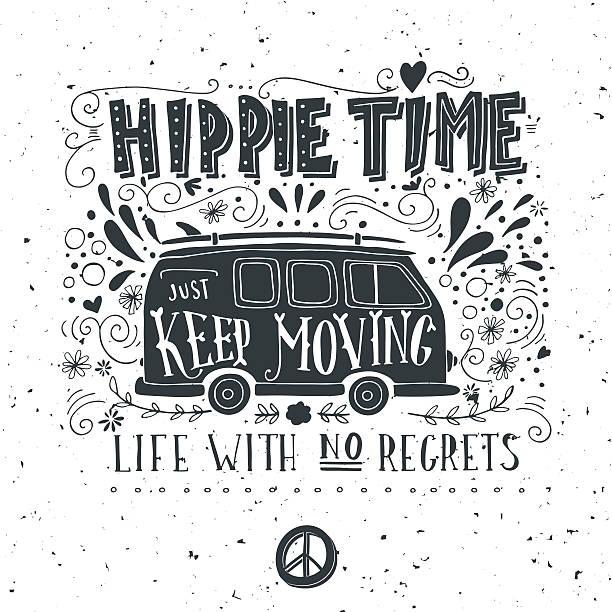 Vintage hippie time print with a mini van vector art illustration
