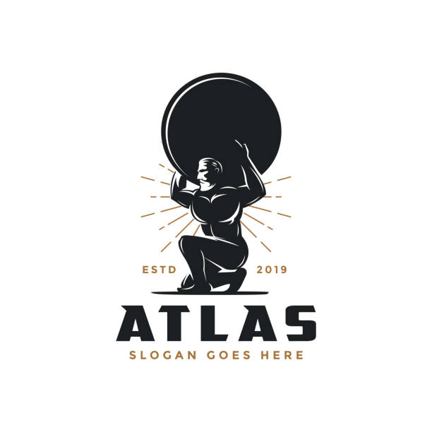 Vintage hipster Atlas god icon icon Vintage hipster Atlas god icon icon god stock illustrations