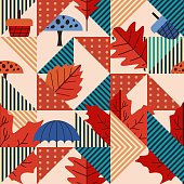 Modern abstract of autumn seamless pattern. Popular geometric  triangle with leaves and foliage fall season textile fashion for print and wrapping vector.