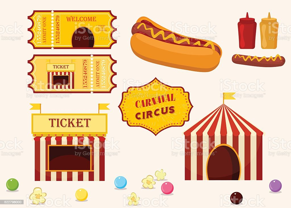 Vintage hipster circus collection with carnival food vector icons illustration. vector art illustration