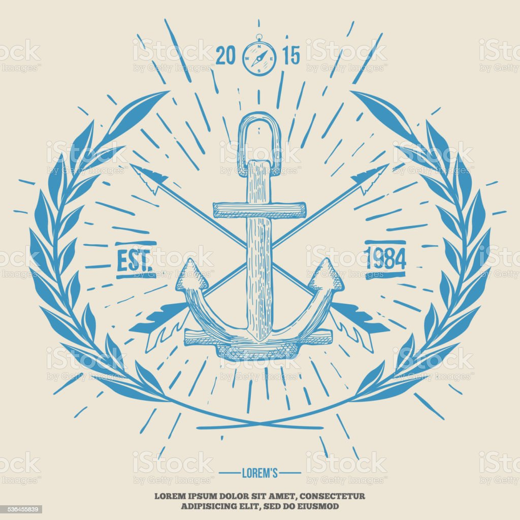 Vintage Hipster Logo Crossed Arrows with Anchor Vector vector art illustration