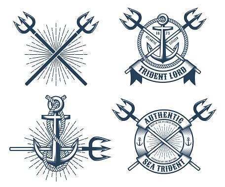 Vintage hipster navy tattoo logos with tridents ribbons and anchors