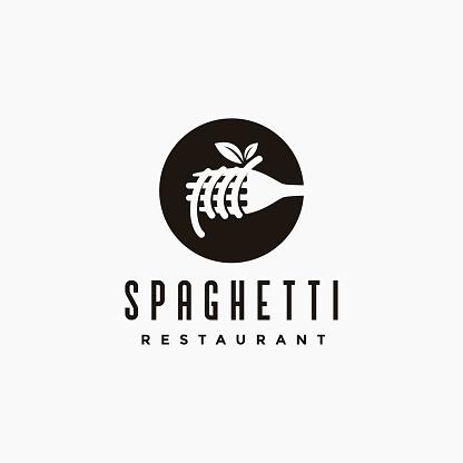 Vintage hipster retro spaghetti pasta noodle icon vector