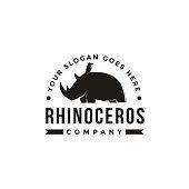 Vintage hipster Rhino logo icon