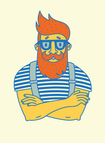 vintage hipster with beard and mustache