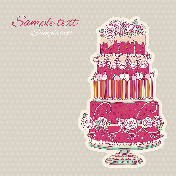 Vintage holiday background with cake Vintage holiday background with cake - vector artwork cartoon of birthday cake outline stock illustrations