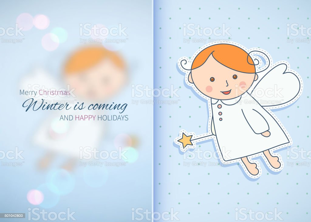 Vintage holiday card design with an angel. vector art illustration