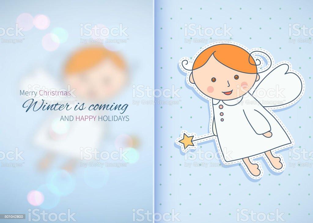 Diseño Vintage tarjeta de navidad con un ángel. - ilustración de arte vectorial