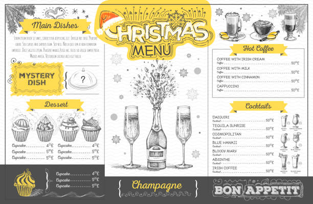 Vintage holiday christmas menu design with champagne. Restaurant menu Vintage holiday christmas menu design with champagne. Restaurant menu irish coffee stock illustrations