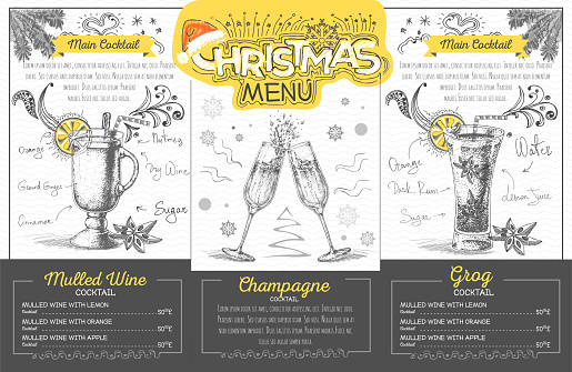 Vintage Holiday Christmas Menu Design With Champagne