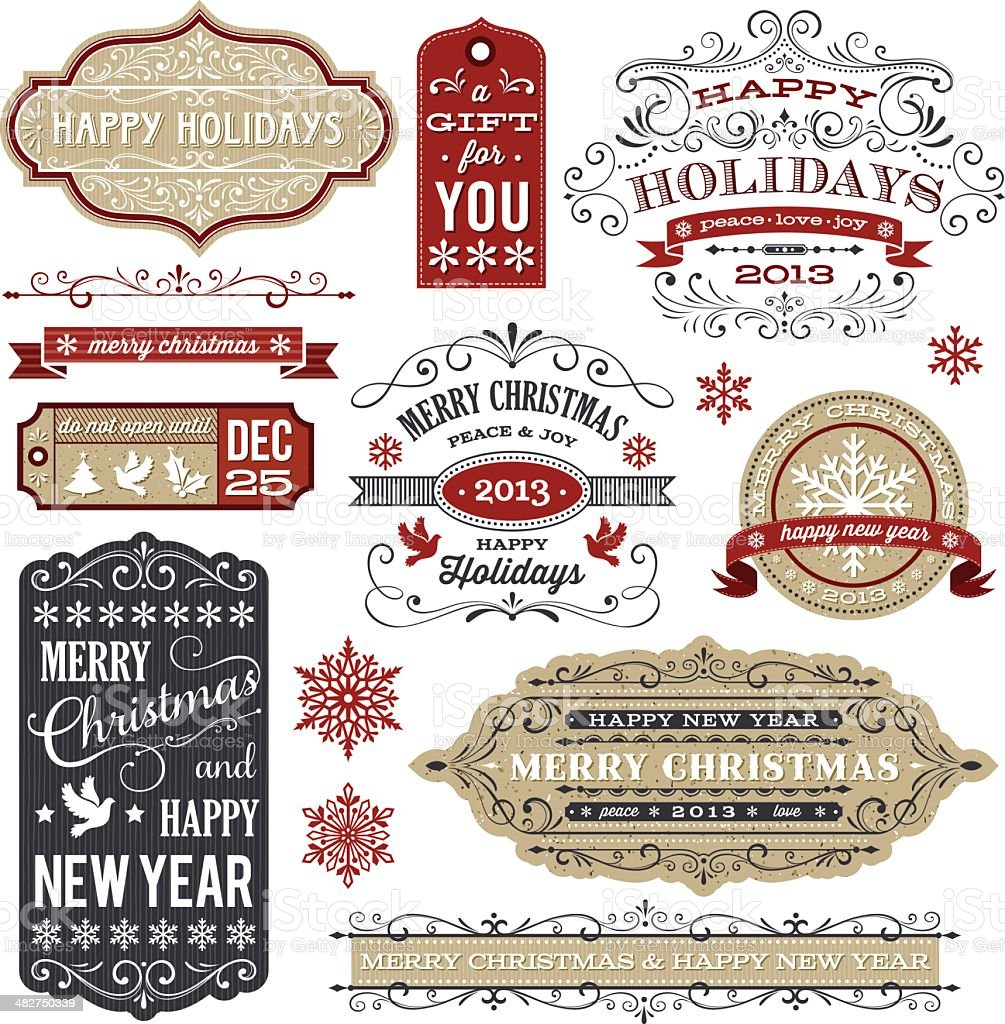 Vintage Holiday Labels and Tags royalty-free stock vector art