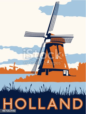 A posterized illustration of the Dutch landscape including two windmills.