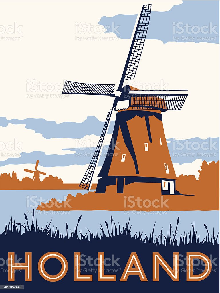 Vintage Holland Travel Poster vector art illustration