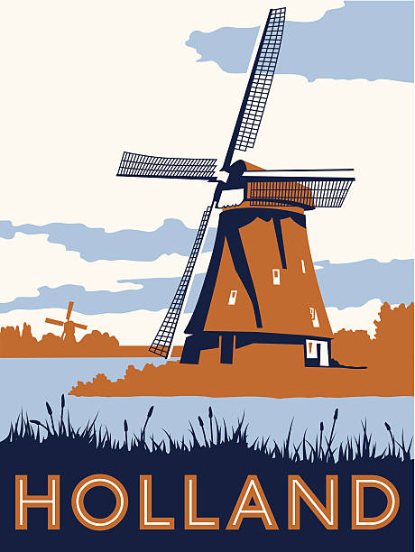 vintage-holland-reise poster - niederlande stock-grafiken, -clipart, -cartoons und -symbole