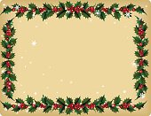 Holly on a vintage style background. Old fashioned looking Vintage tan colored parchment background with Holly Leaves and Berries Frame with Snowflakes. The holly and berries garland forms a frame around the outer edge of the background. The layout  is a horizontal rectangle.