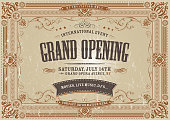 Vector illustration of a vintage invitation background to a grand opening exhibition with various royal floral patterns, frames, banners, grunge texture and retro design. File is EPS10. Vector eps and high resolution jpeg files included