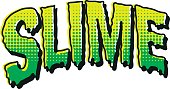 'SLIME' written in a melting vintage horror comic style with halftone dots. This is an original typeface design.