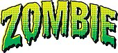 'ZOMBIE' written in a melting vintage horror comic style with halftone dots. This is an original typeface design.