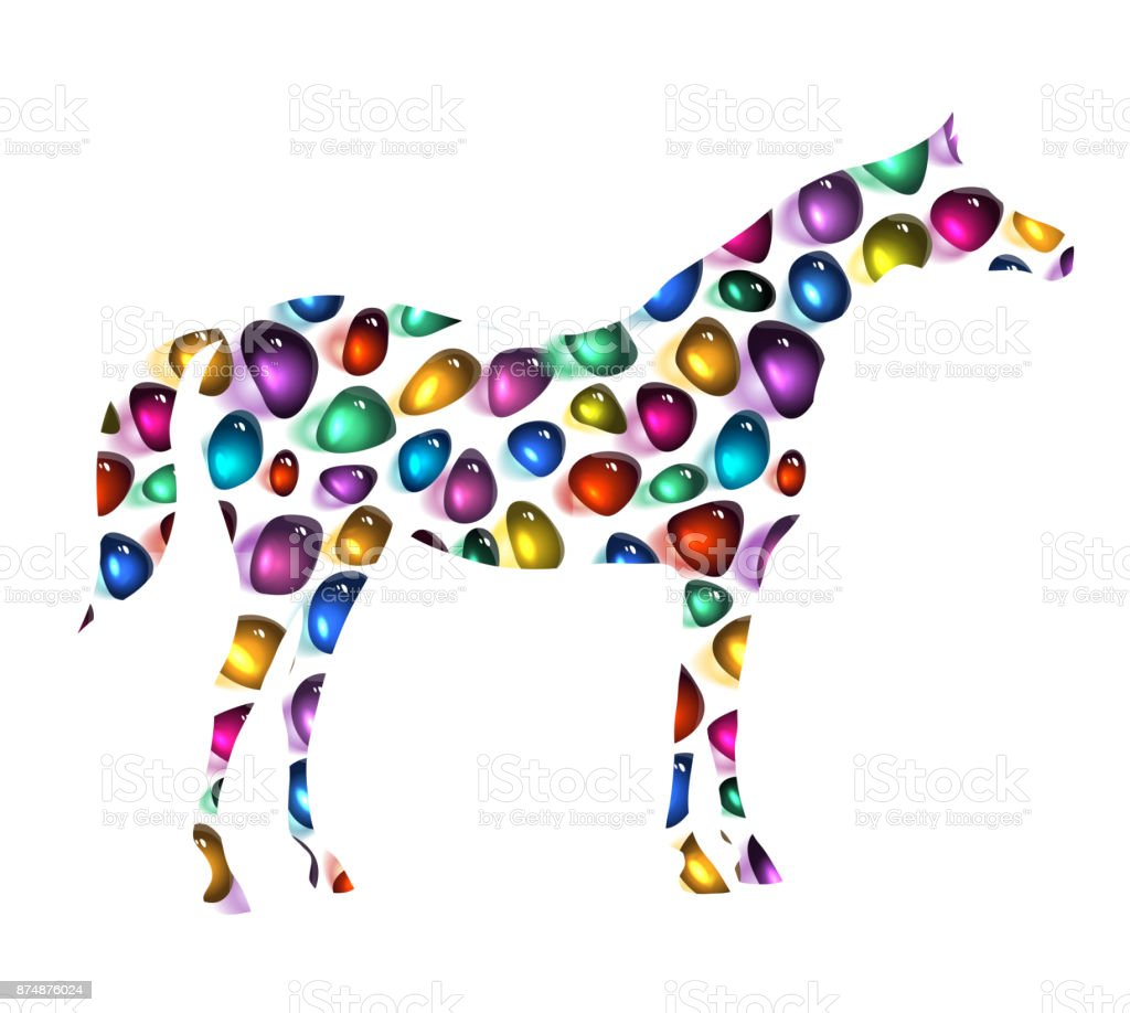 Vintage horse silhouette with mosaic jewelry pied tile bright colorful texture. vector art illustration
