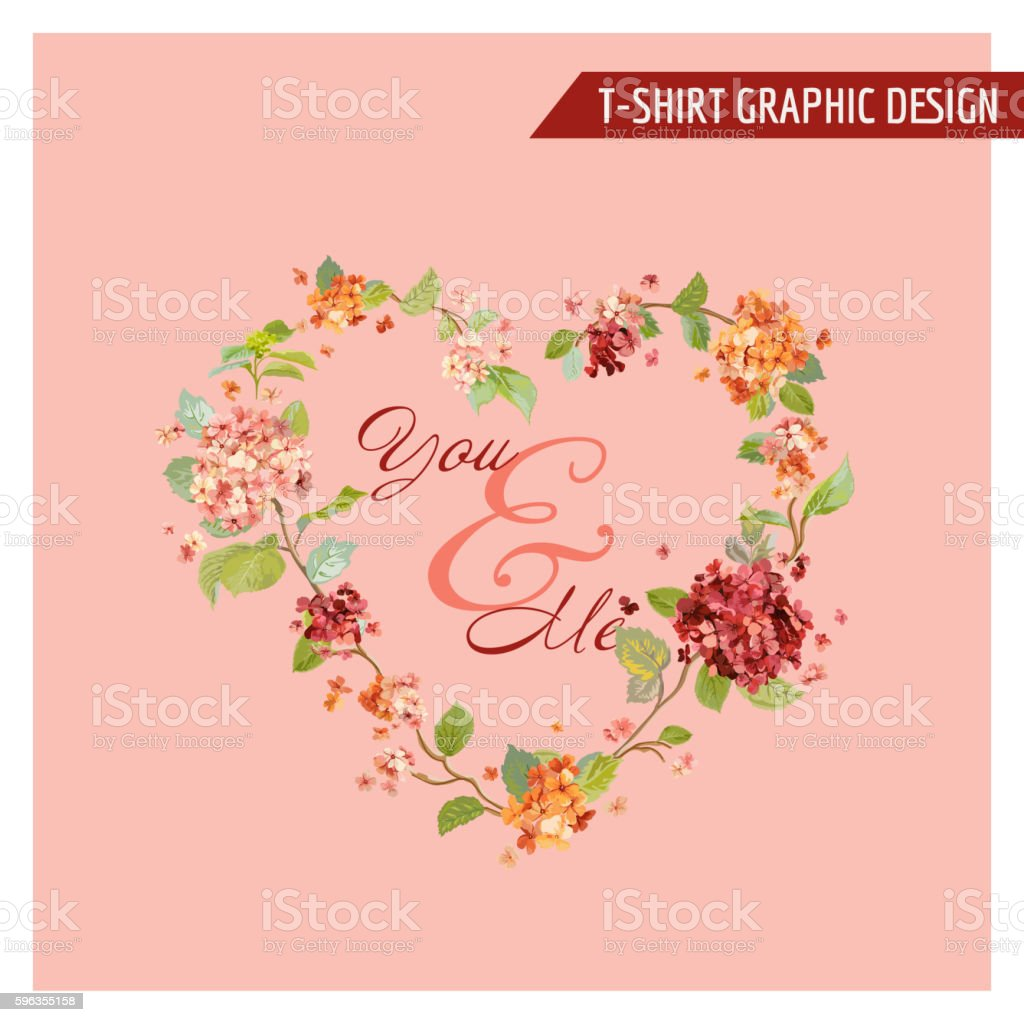 Vintage Hortensia Floral Graphic Design - for Card, T-shirt, Fashion royalty-free vintage hortensia floral graphic design for card tshirt fashion stock vector art & more images of backgrounds