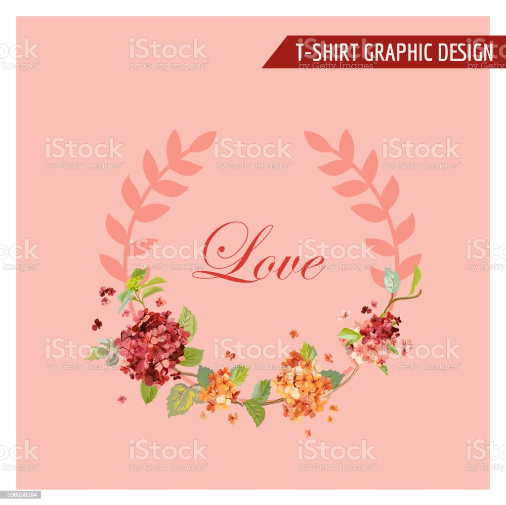 Vintage Hortensia Floral Graphic Design - for Card, T-shirt, Fashion royalty-free vintage hortensia floral graphic design for card tshirt fashion stock vector art & more images of flower